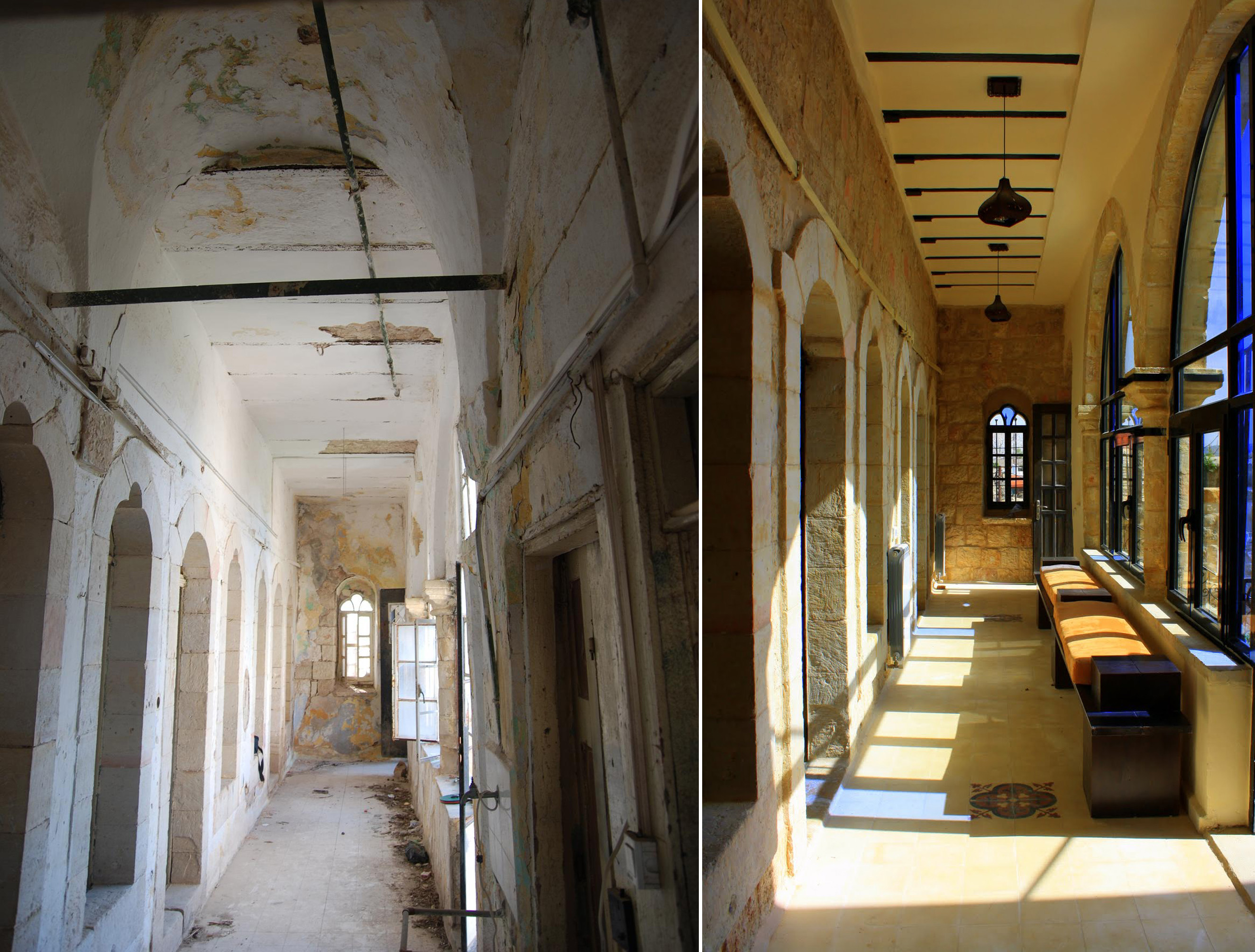 Birzeit Municpality guest house (before and after restoration) - AKAA Riwaq