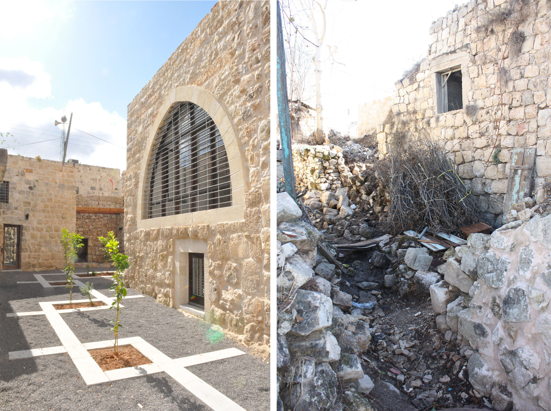 Birzeit University guest house (before and after restoration) - AKAA Riwaq